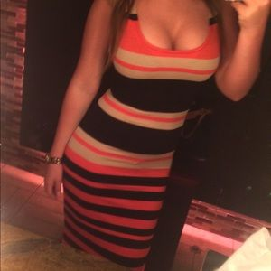 Striped bodycon knee length dress